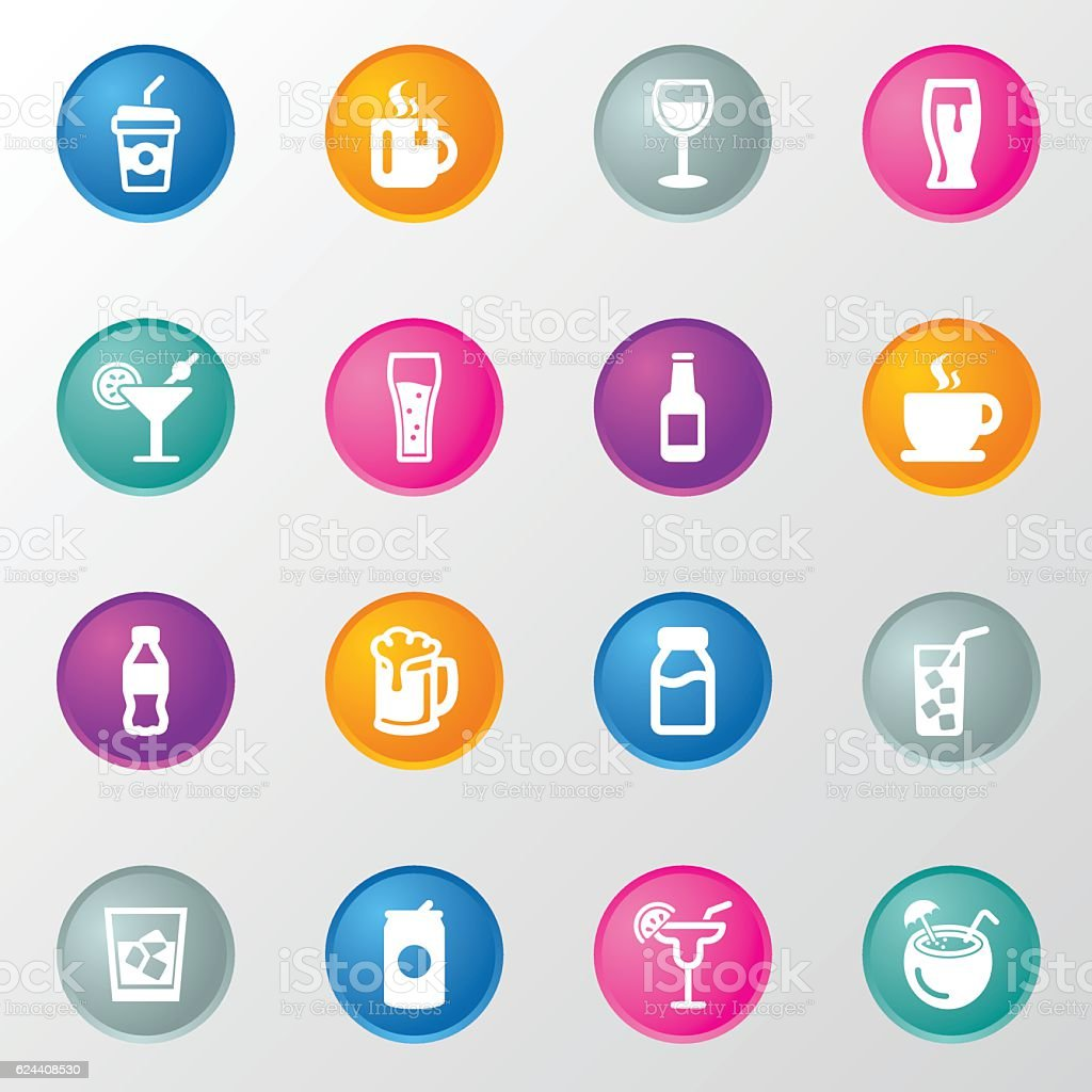 Drink Circle Color Icons vector art illustration