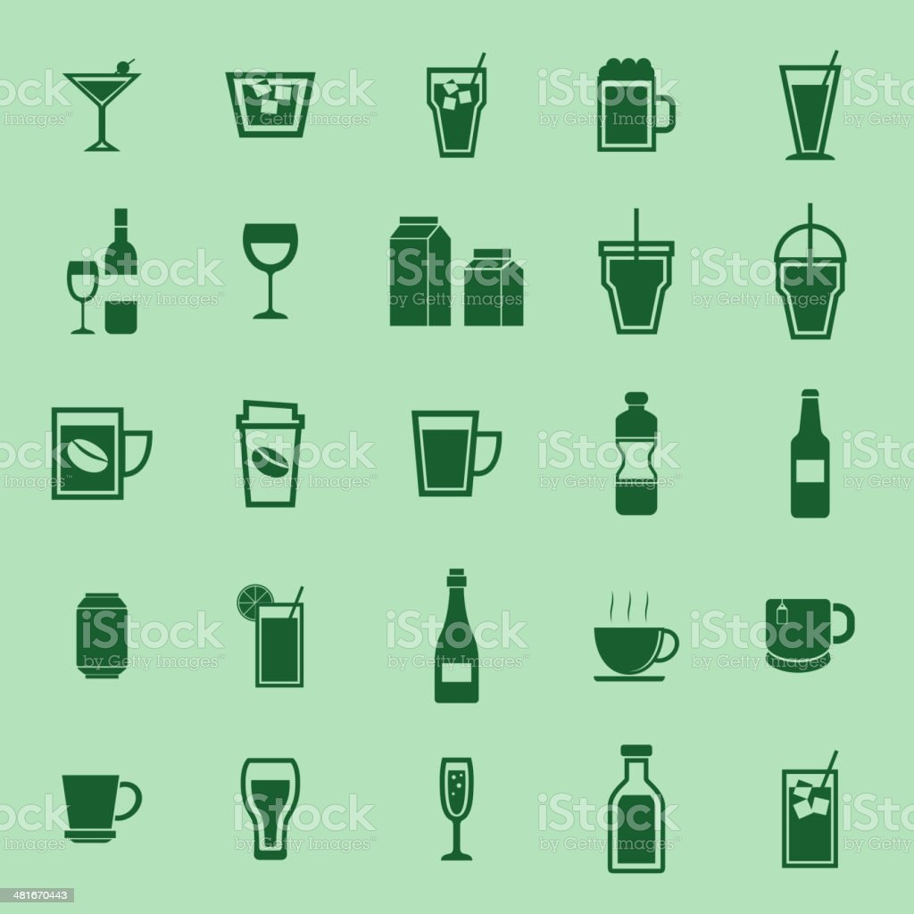 Drink color icons on green background royalty-free stock vector art