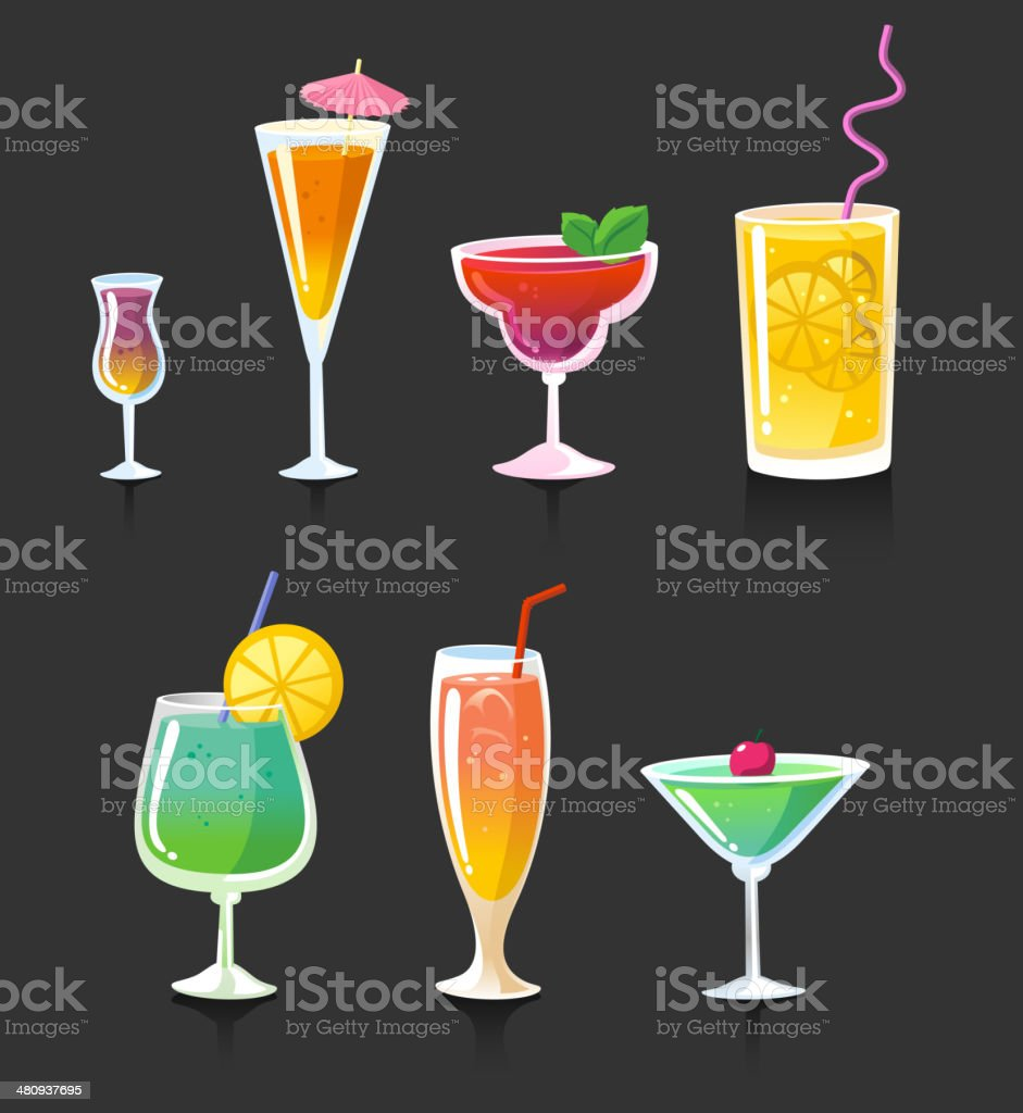 Drink drinks cocktail alcohol glasses vector art illustration