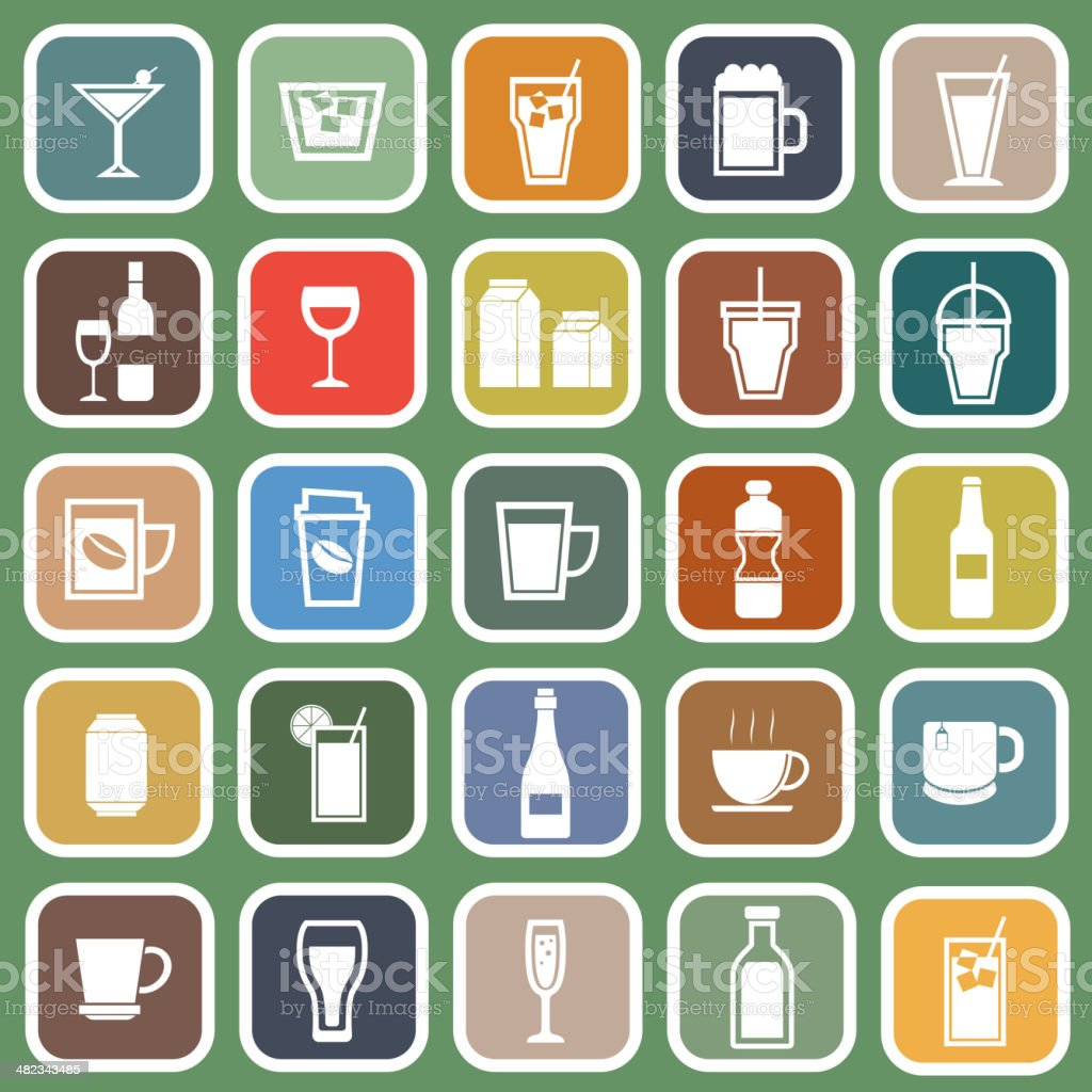 Drink flat icons on green background vector art illustration
