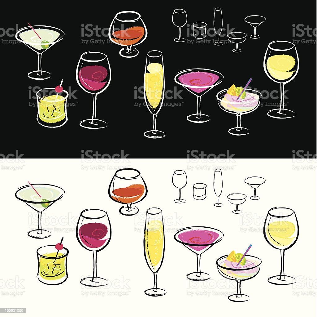 Drink Glass-Design Elements royalty-free stock vector art