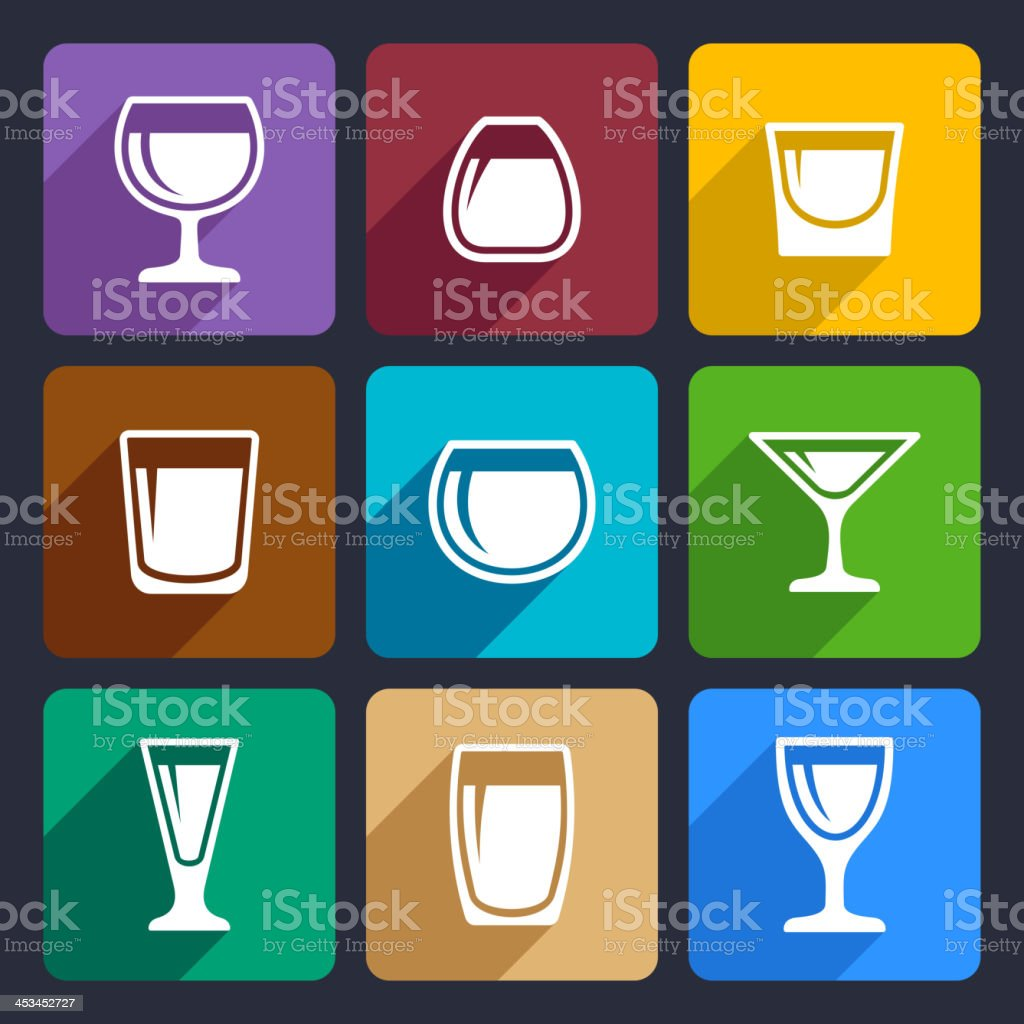 Drink glasses icons set 16 royalty-free stock vector art
