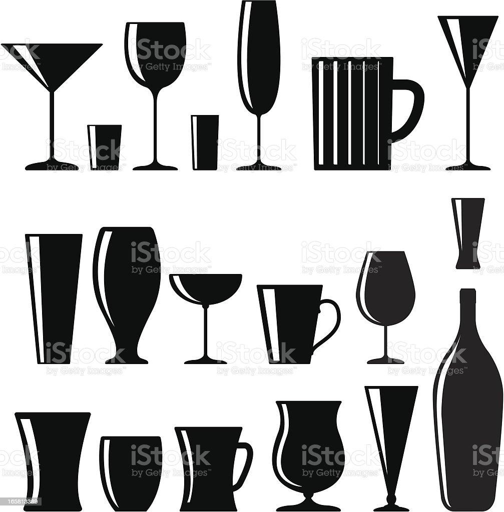 Drink glasses vector art illustration