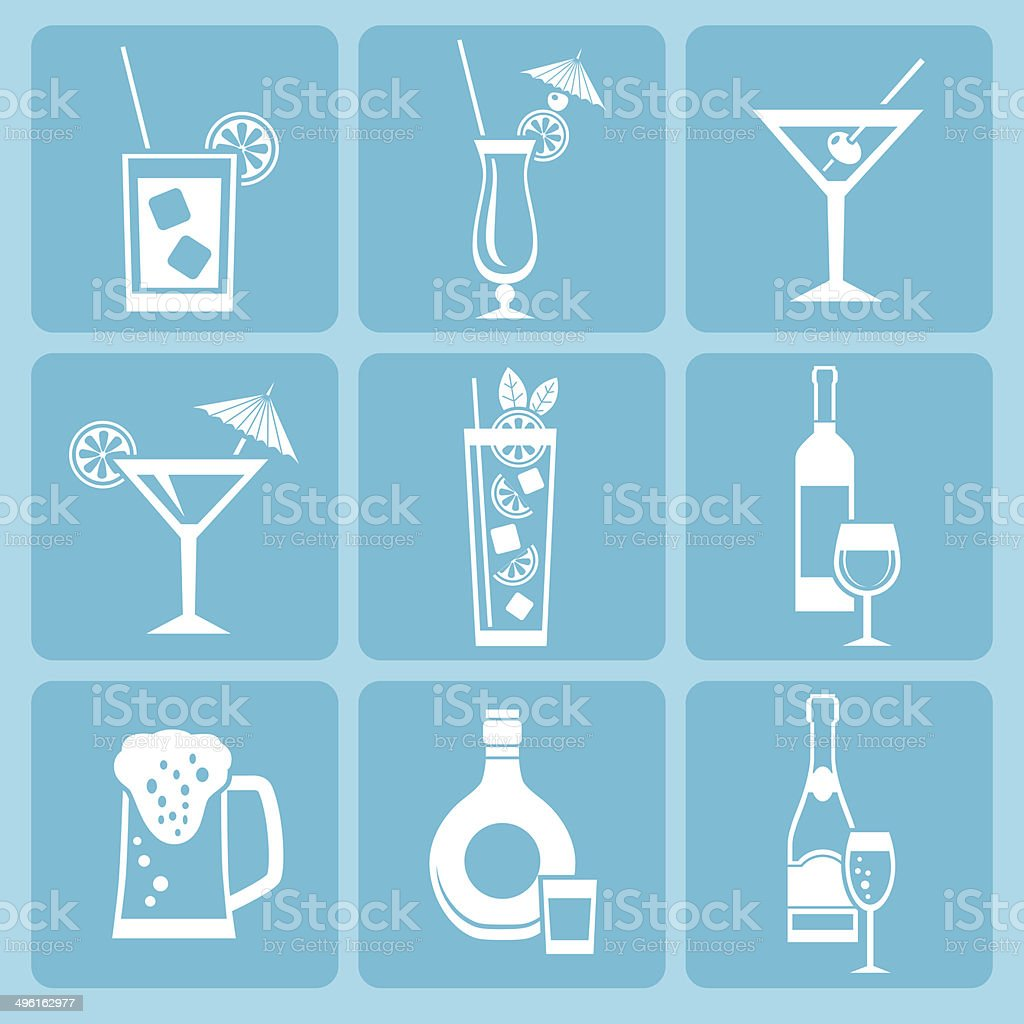 Drink icon set. vector art illustration