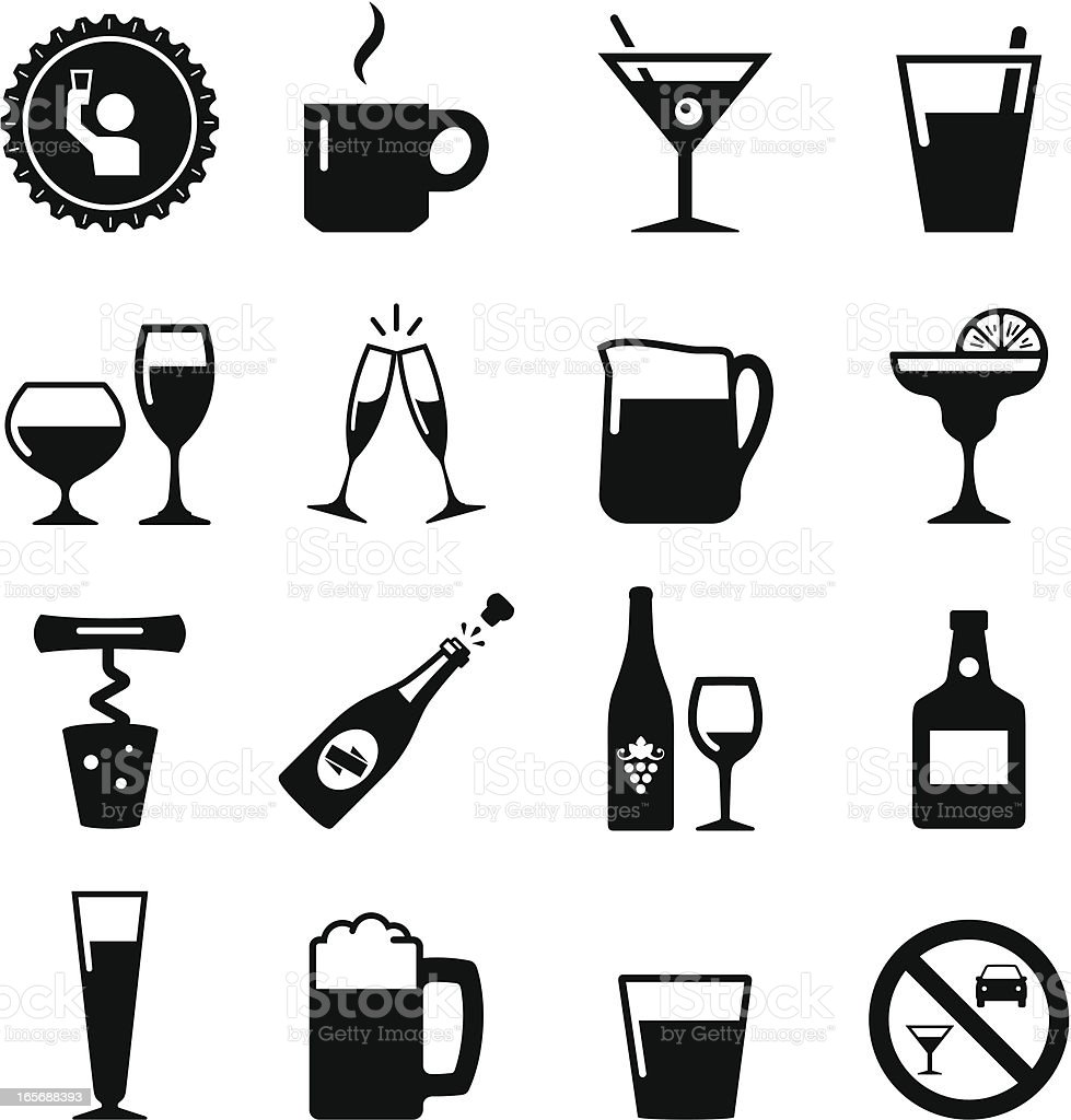 Drink Icons - Black Series vector art illustration