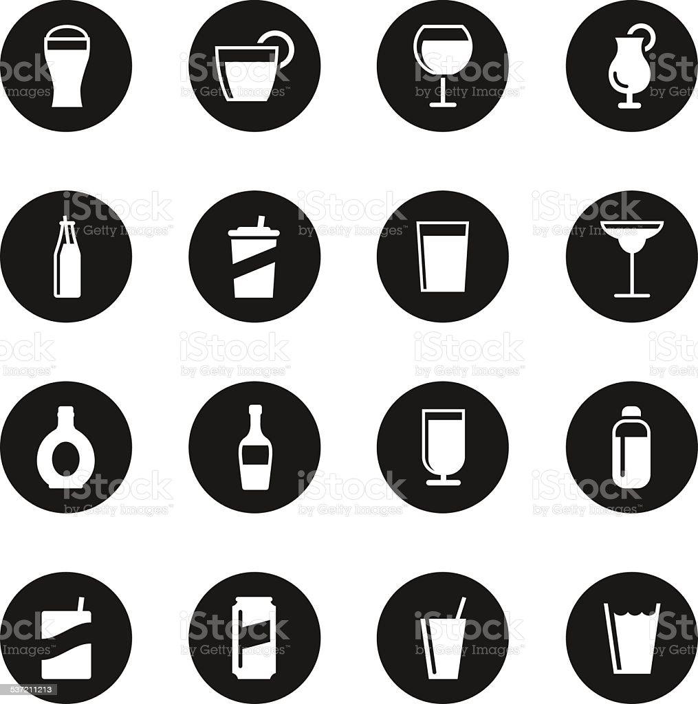 Drink Icons Set 2 - Black Circle Series vector art illustration
