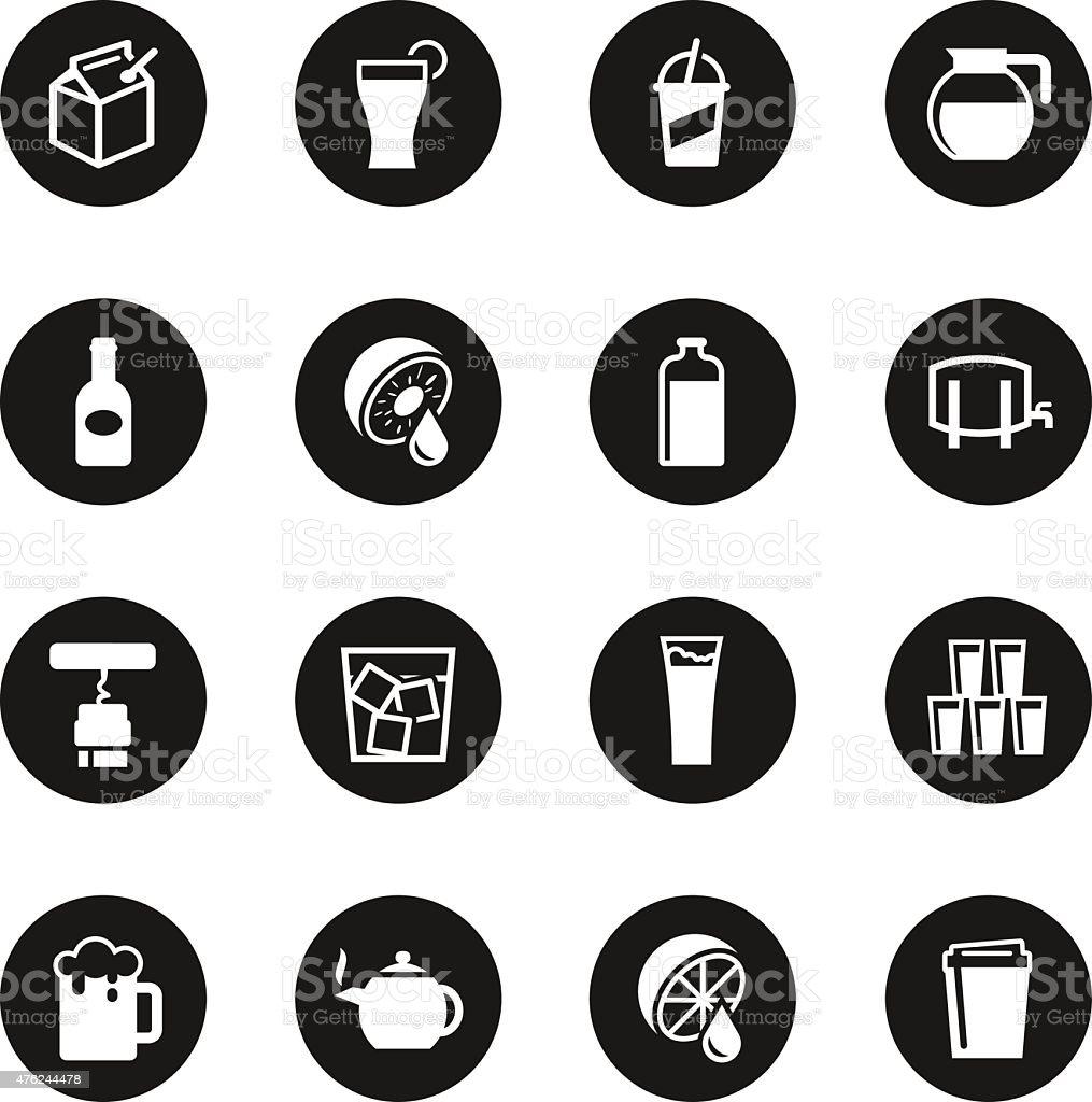 Drink Icons Set 3 - Black Circle Series vector art illustration