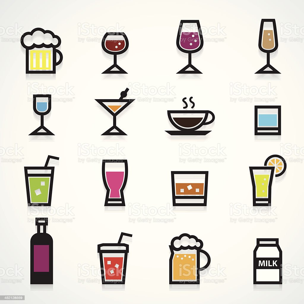 Drink icons set color royalty-free stock vector art