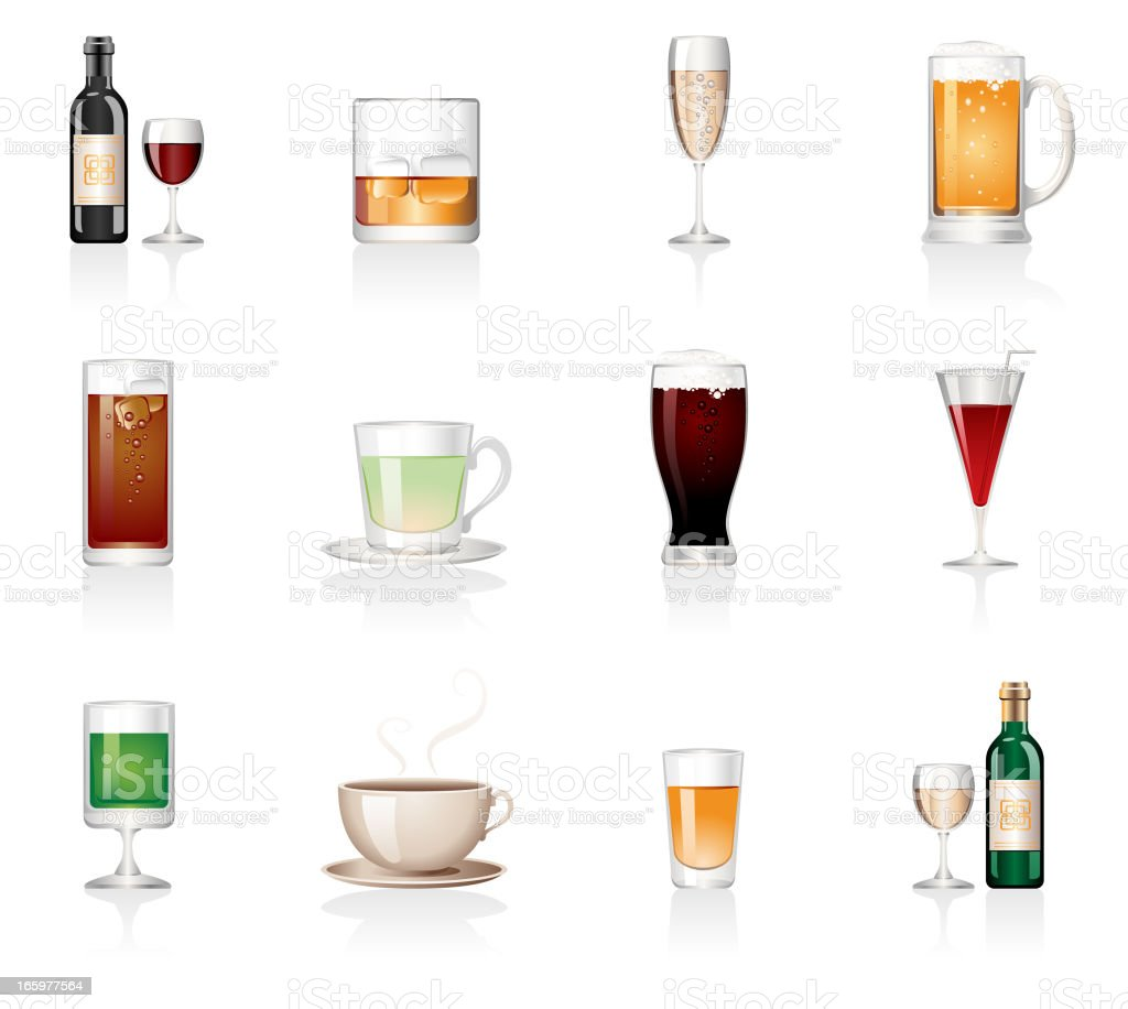 Drink Icons vector art illustration
