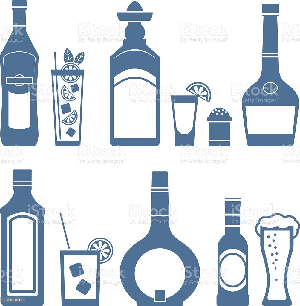 Drink icons. vector art illustration