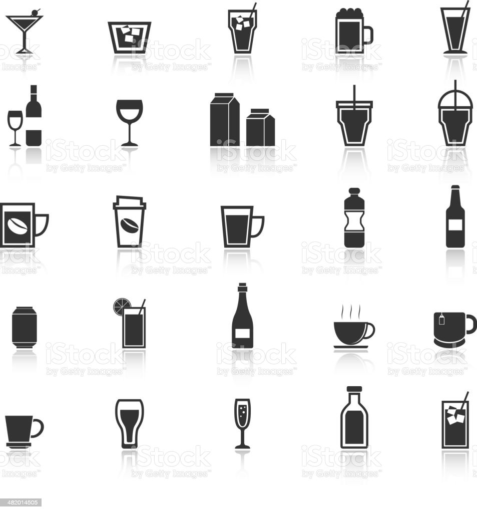 Drink icons with reflect on white background royalty-free stock vector art