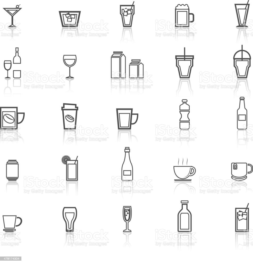 Drink line icons with reflect on white vector art illustration