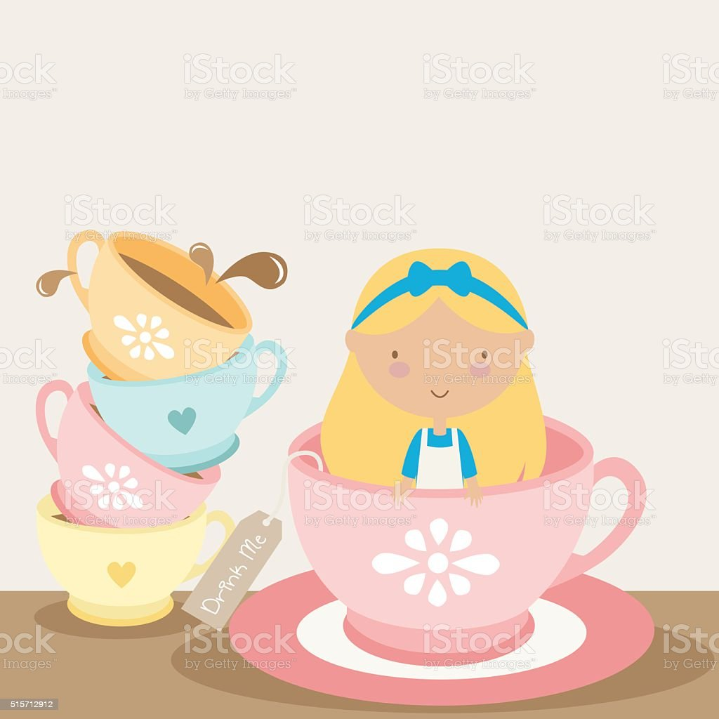 Drink Me Tea Cup vector art illustration