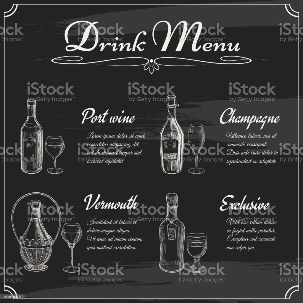 Drink menu elements on chalkboard vector art illustration