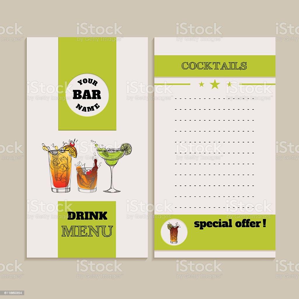 drink menu vector art illustration