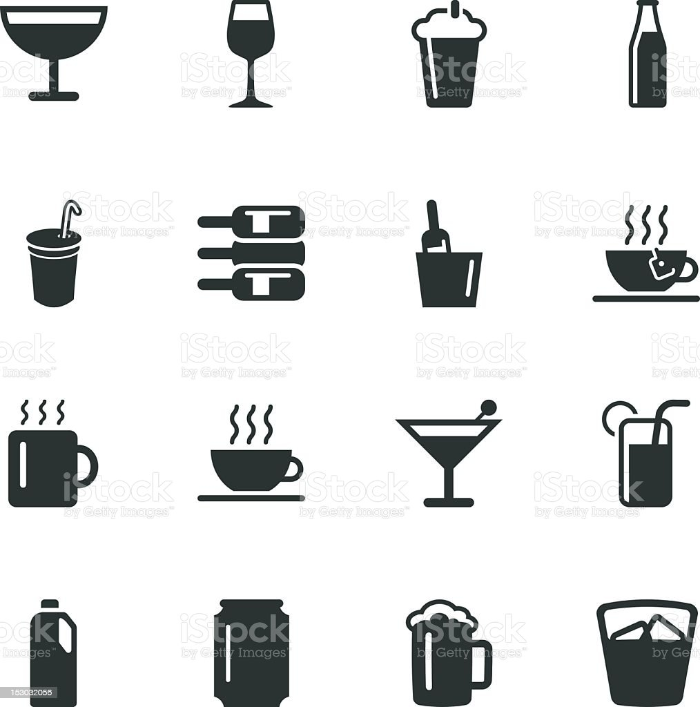 Drink Silhouette Icons | Set 1 royalty-free stock vector art