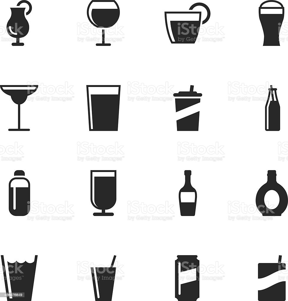 Drink Silhouette Icons | Set 2 royalty-free stock vector art