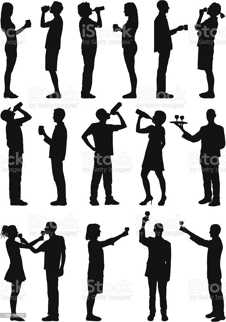 Drinkers vector art illustration