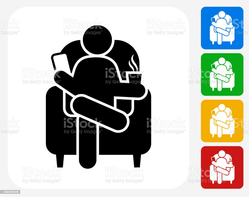 Drinking and Reading Icon Flat Graphic Design vector art illustration
