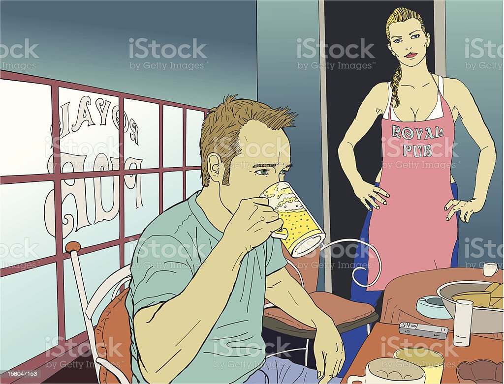 Drinking beer in the pub with waitress vector art illustration
