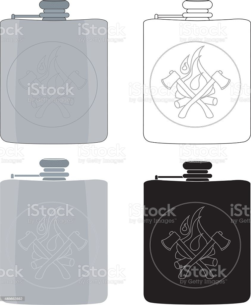 Drinking flask icon set vector art illustration