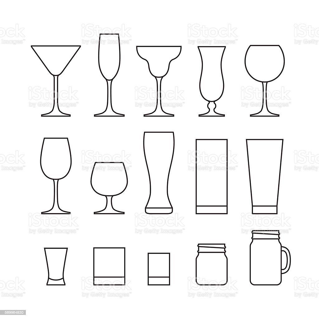 Drinking glass set. vector art illustration