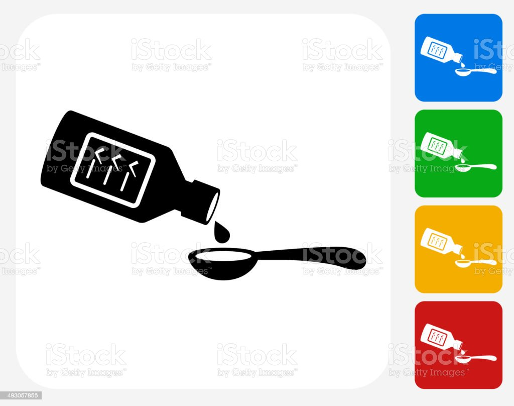 Drinking Medicine Icon Flat Graphic Design vector art illustration