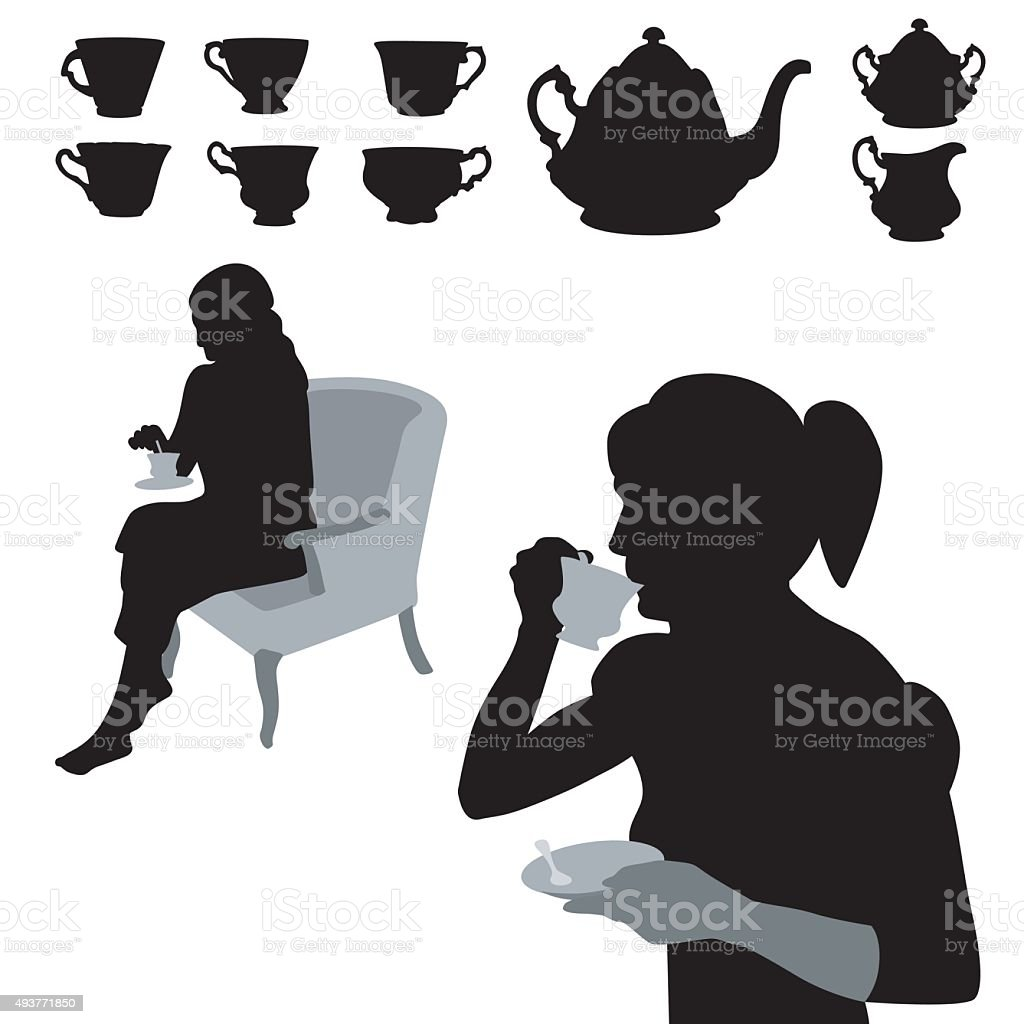 Drinking Tea vector art illustration