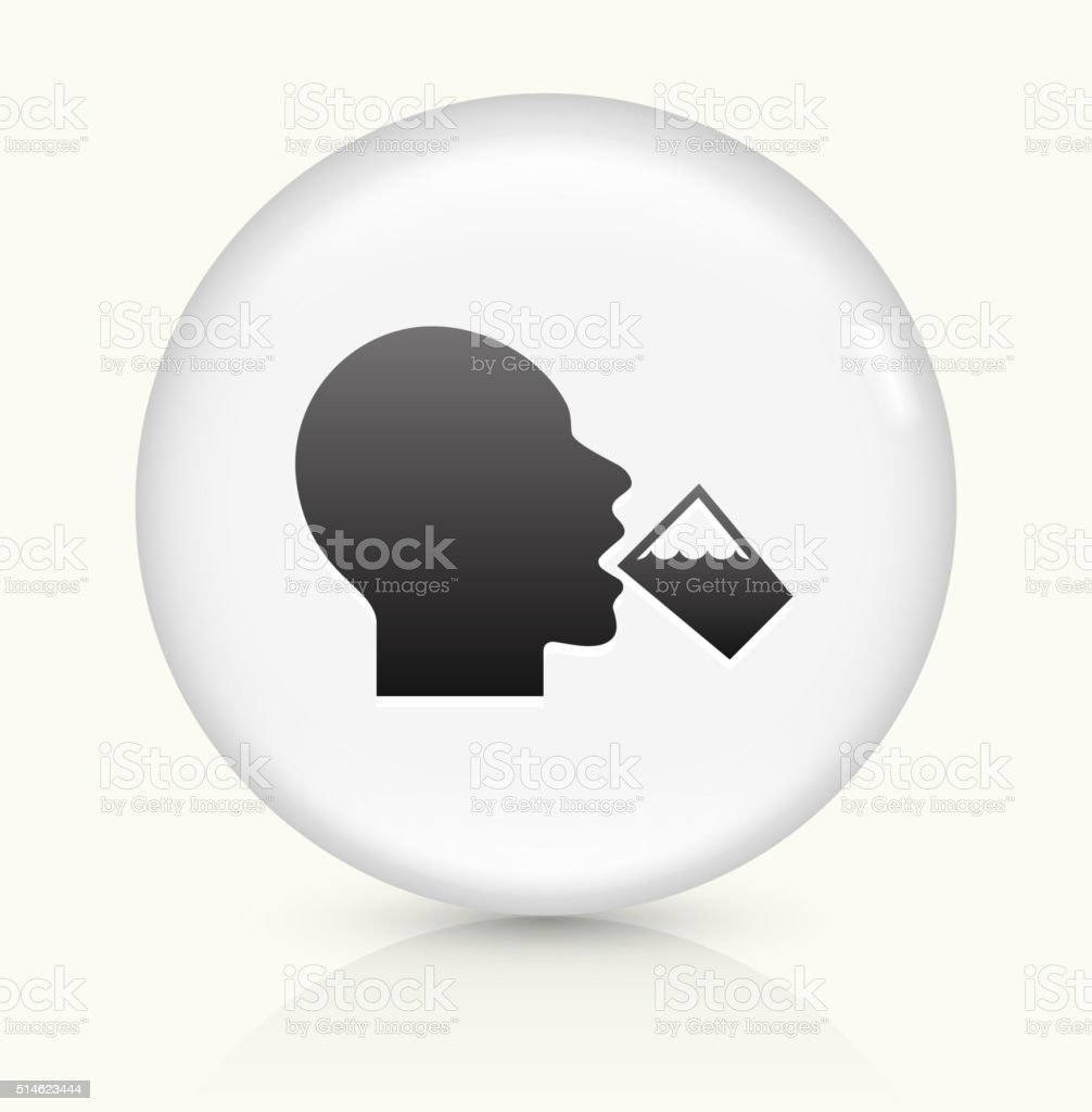 Drinking Water icon on white round vector button vector art illustration