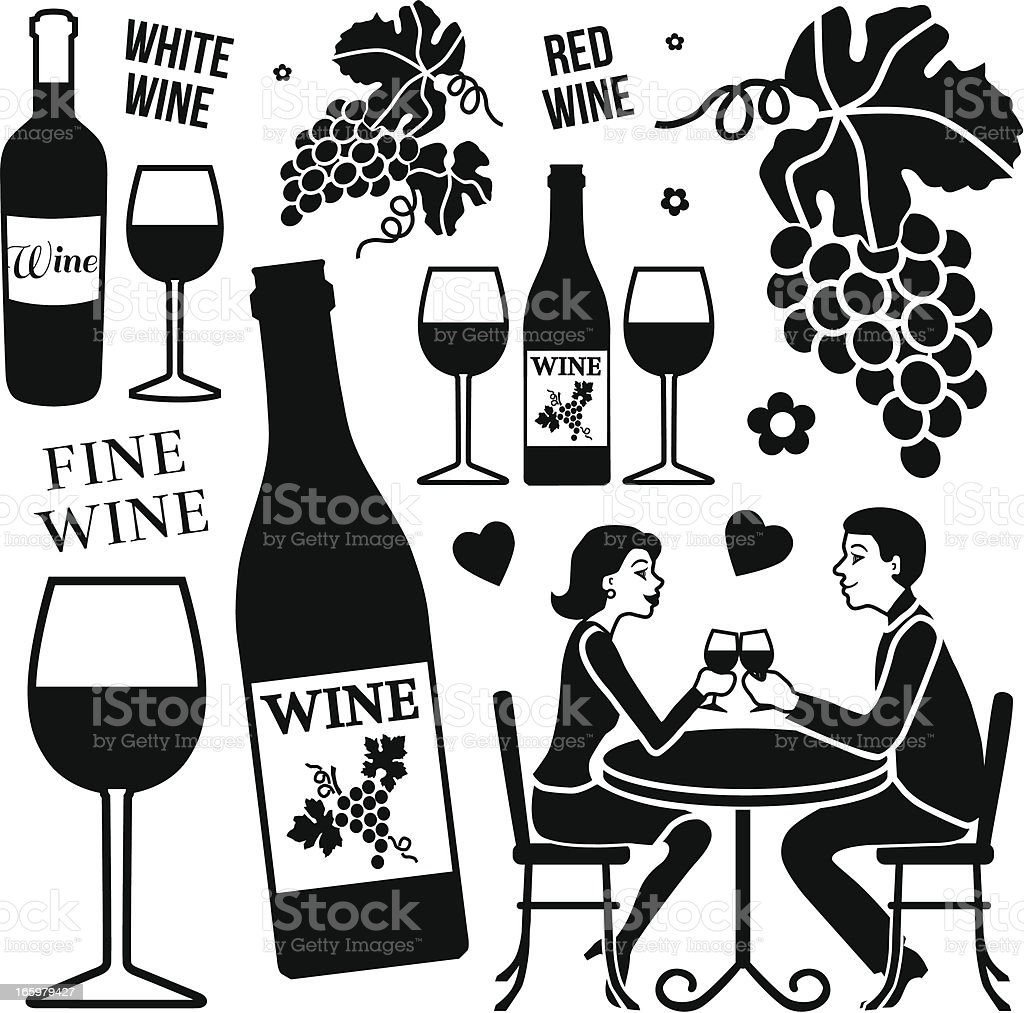 drinking wine vector art illustration