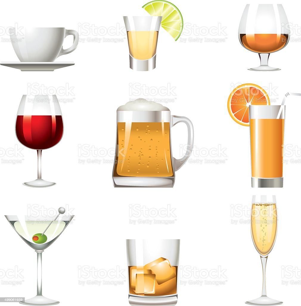 Drinks alcohol beverage colors icon vector art illustration