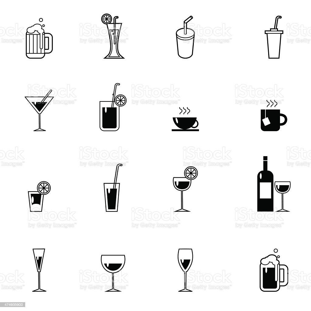 drinks and beverages icon set vector illustration vector art illustration