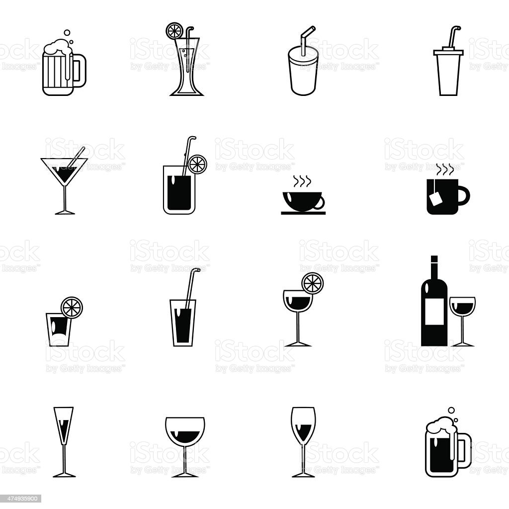 drinks and beverages icon set vector illustration vector art illustration