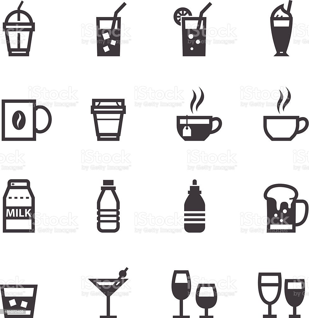 Drinks and Beverages Icons royalty-free stock vector art
