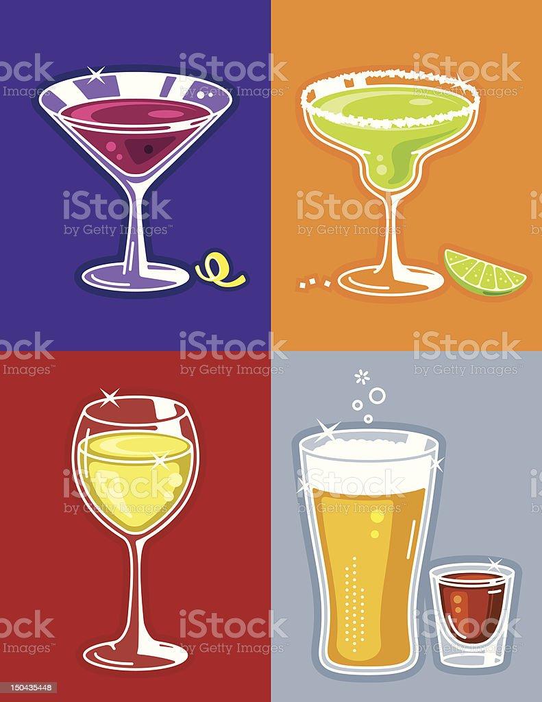 Drinks and Cocktails vector art illustration