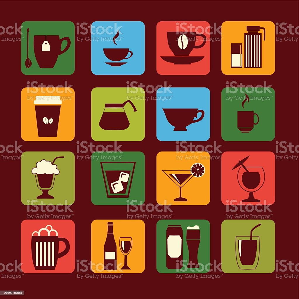 drinks and glasses - Illustration vector art illustration