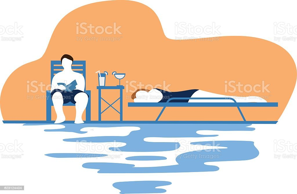 Drinks by the pool at sunset vector art illustration
