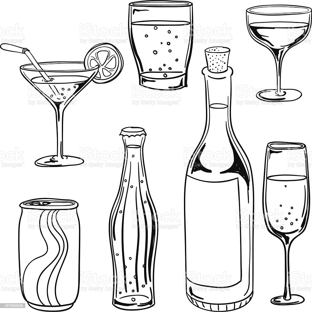 Drinks collection in black and white vector art illustration