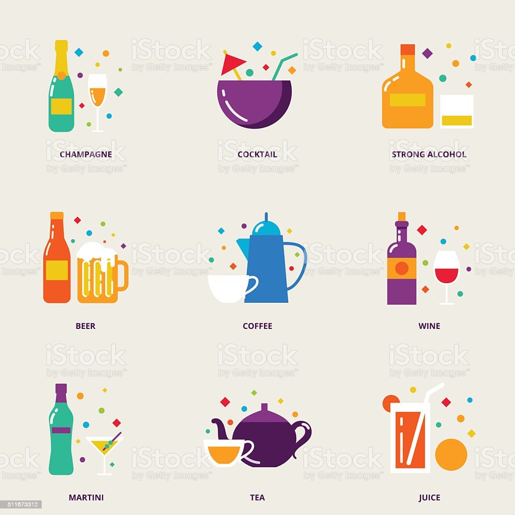 Drinks colorful vector icons set vector art illustration