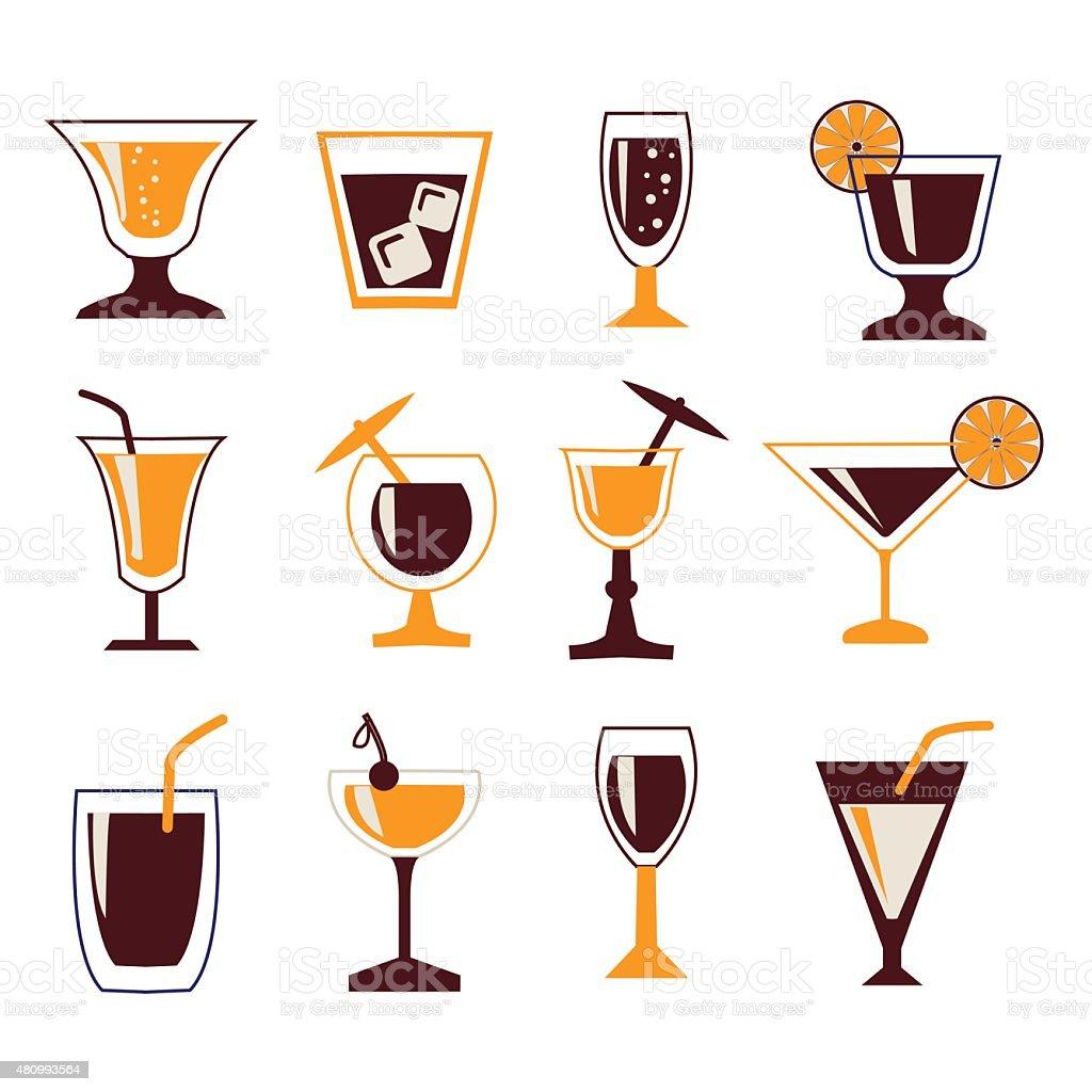 Drinks icon set vector art illustration
