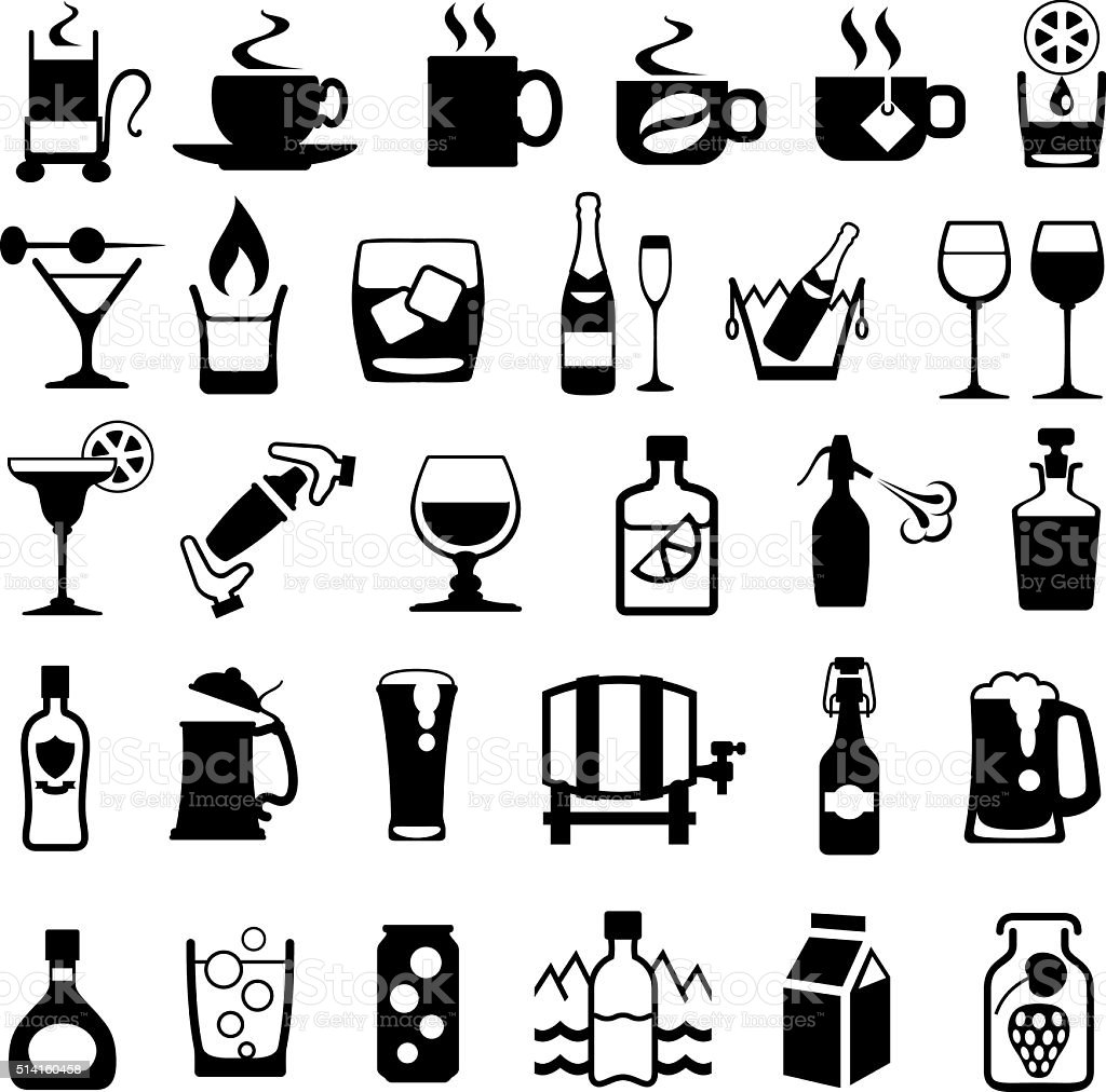 Drinks Icon Set vector art illustration