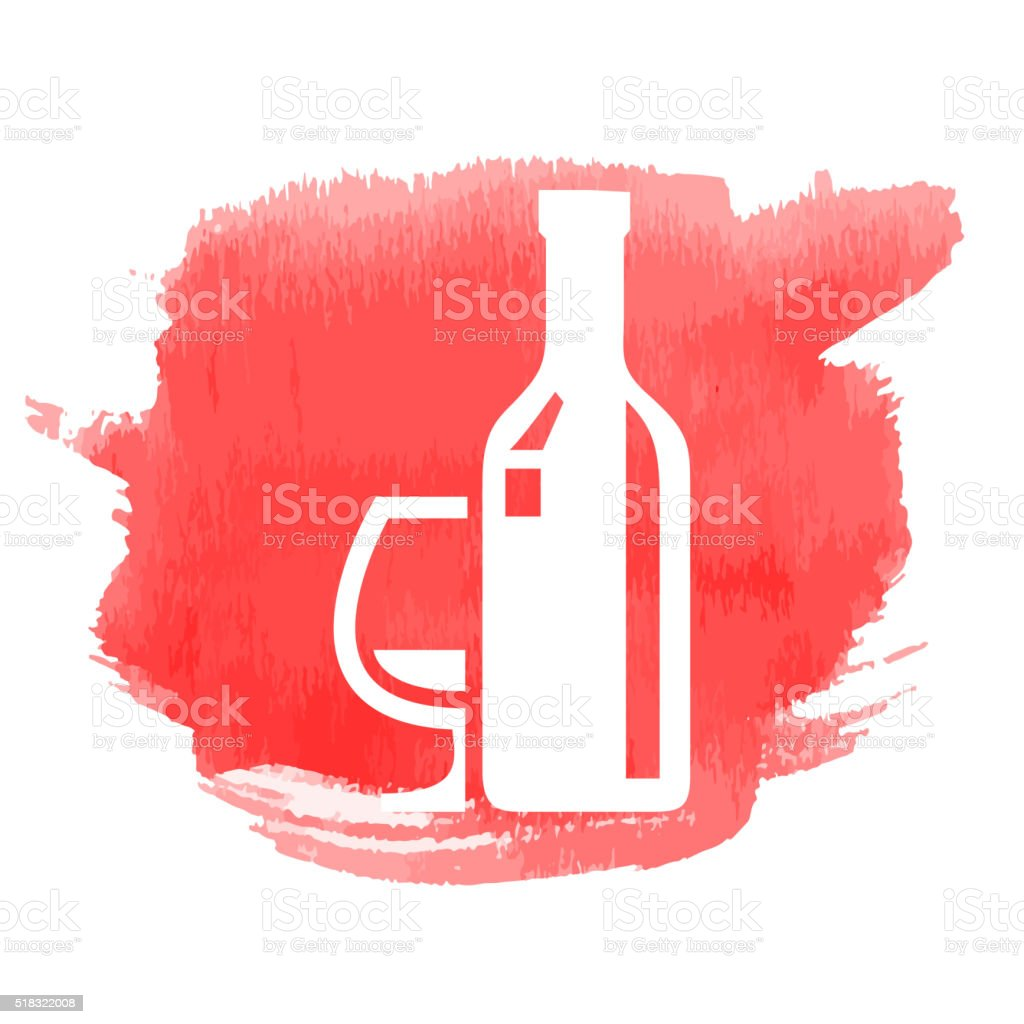 Drinks Icon with Watercolor Patch vector art illustration