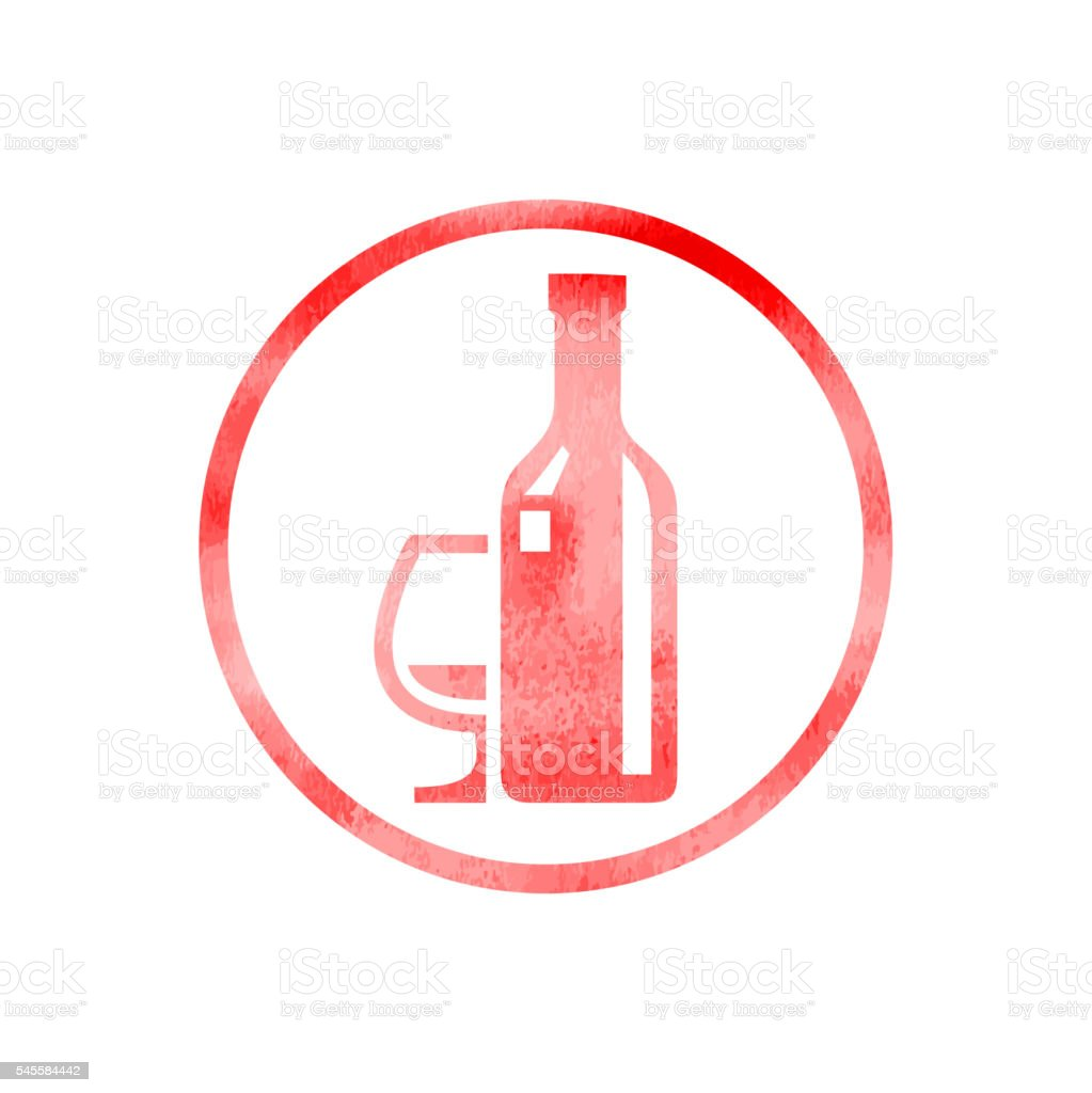 Drinks Icon with Watercolor Texture vector art illustration