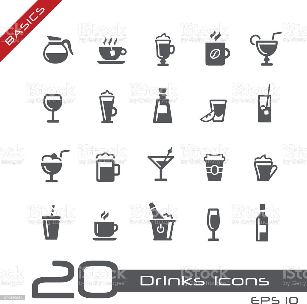 Drinks Icons - Basics vector art illustration