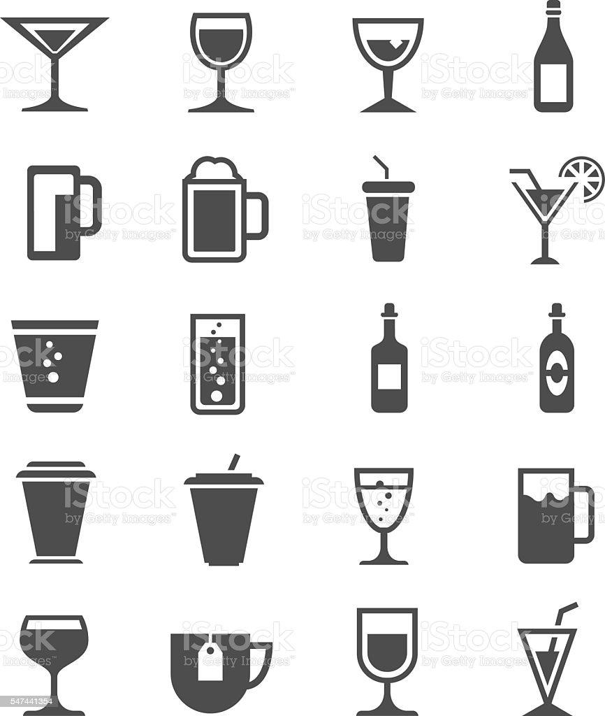 Drinks icons set vector art illustration