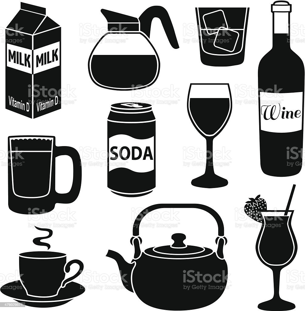drinks icons royalty-free stock vector art