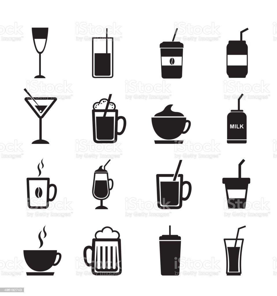 drinks icons vector art illustration