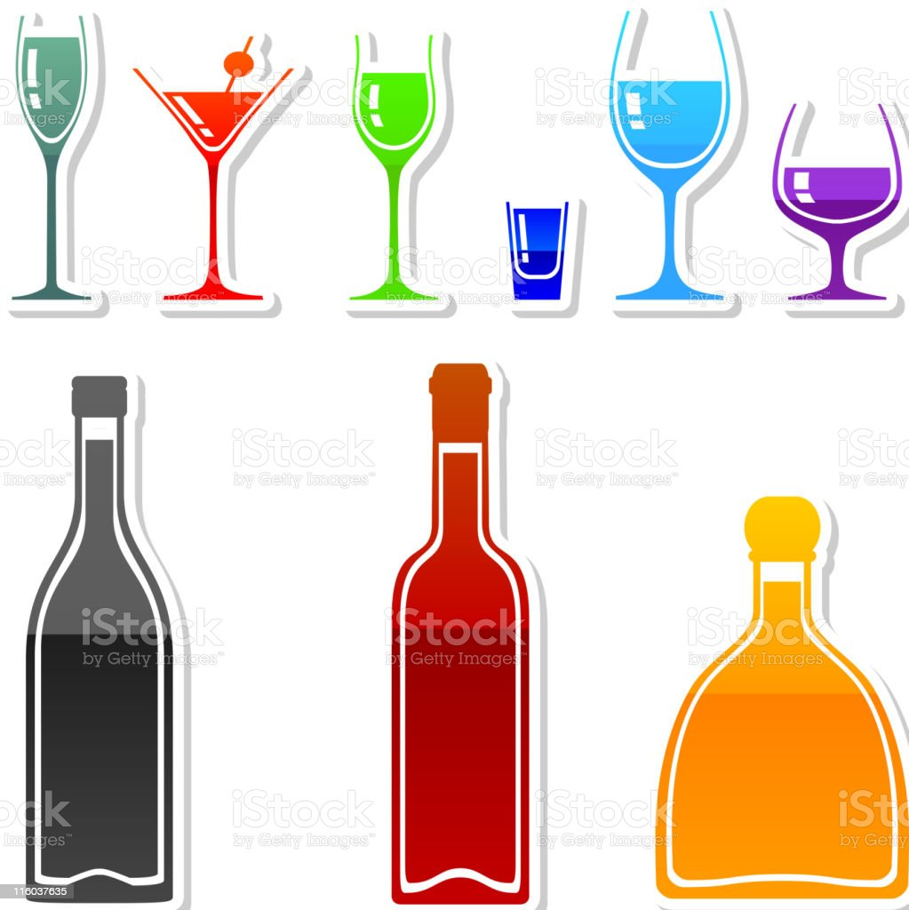 drinks in 9 colors vector art illustration