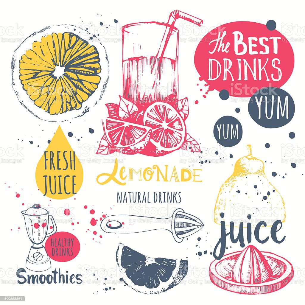 Drinks in sketch style. Useful natural juices and smoothies. vector art illustration