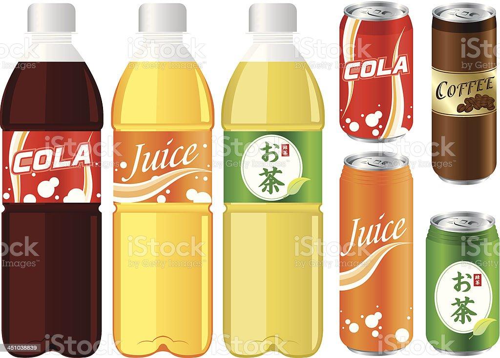 drinks juice cans pet bottle Set Vector royalty-free stock vector art